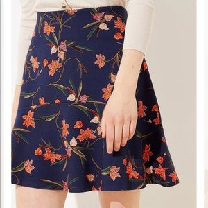 LOFT A-Line Floral Skirt
